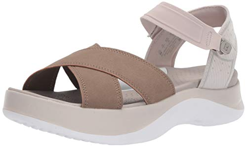 BZees Washable Womens Poppy Taupe Seer Sucker Ankle Straps 7.5 W