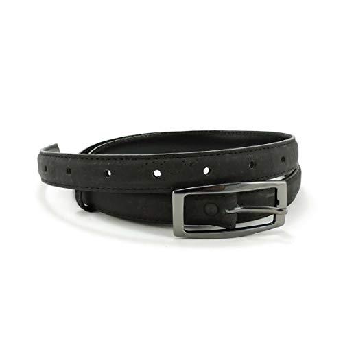 CorkLane Cinturón de corcho para mujer, 20 mm, vegano, estrecho Negro Medium