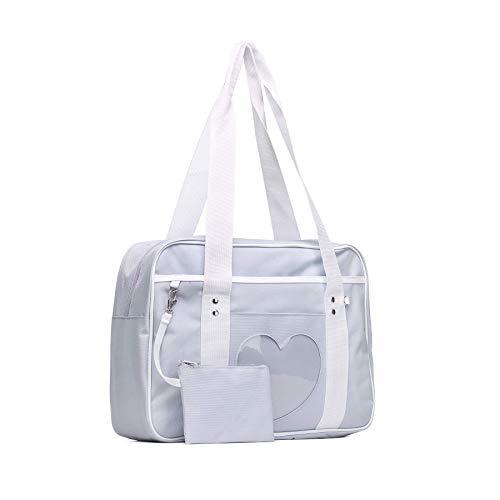SteamedBun Ita Bag Heart Japanese Bags Kawaii Large Shoulder Anime Purse (Light grey)