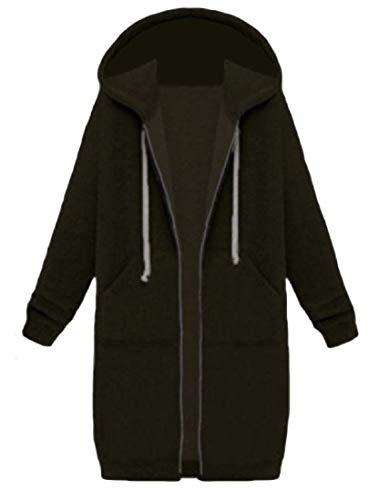 SLLI Women Stylish Zip Thickened Pockets Mid-Long Hood Pure Color Sweatshirts Outwear