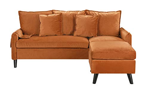 Divano Roma Furniture Classic Sectional, Rust