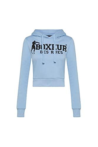BOXEUR DES RUES - Felpa Azzurra Corta con Cappuccio E Logo Effetto Lucido, Donna, Blue, S