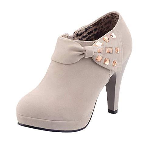 Minetom Damen Klassisch Vintage Schuhe Pumps High Heels Ankle Boots Brautschuhe Party mit Schleife Strass Grau EU 39