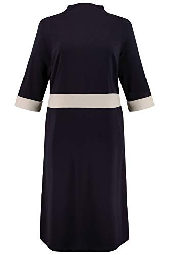 Ulla Popken Damen große Größen Punto-di-Roma-Kleid mitternachtsblau 50/52 718869 70-50+