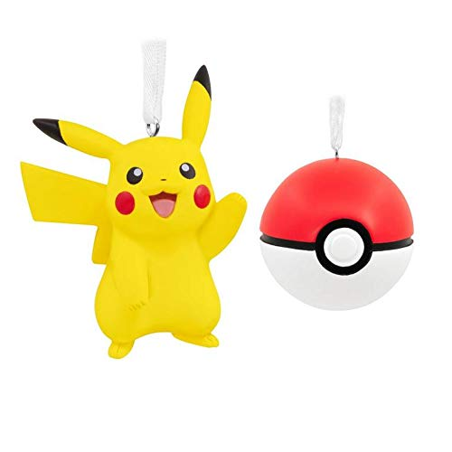 Ornaments Christmas Pokemon Pikachu and Poke Ball Set