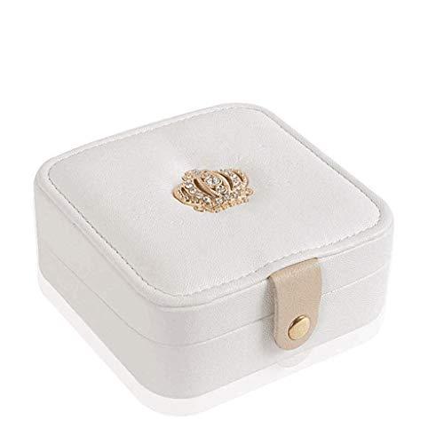 XZJJZ Caja de joyería-Viajes pequeña Caja de joyería Mini Caja de Almacenamiento Incorporado en Cuero MirrorPortable Caja Acabados de joyería