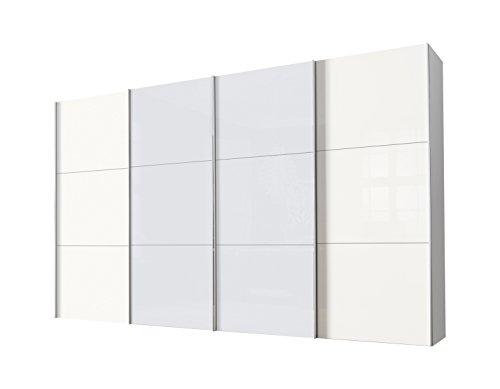 Express Möbel Panoramaschrank 4-türig Stars Design Weiß Glas satiniert 02066-042 BxHxT 400x236x68