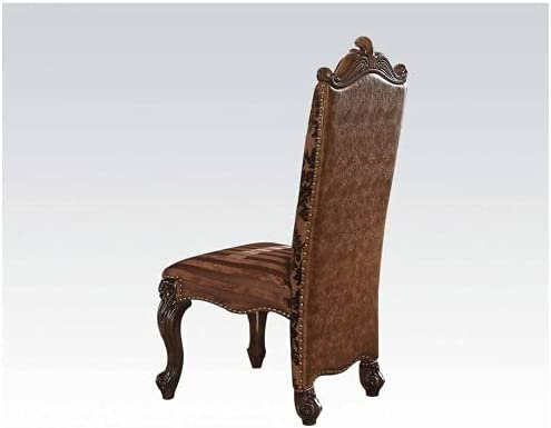 Versailles Side Chair Set-2 in Fabric Brown 2-Tone Light Max Brand Cheap Sale Venue 67% OFF PU