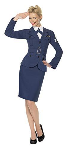 Smiffys Damen WW2 Airforce Hauptmännin, Jacke, Mock Hemd mit Schlips und Gürtel, Größe: S, 35527