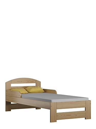 Children's Beds Home Cama Individual de Madera Maciza - Kiko sin colchón y sin cajones (180x80 - sin cajones - sin colchón, Natural)