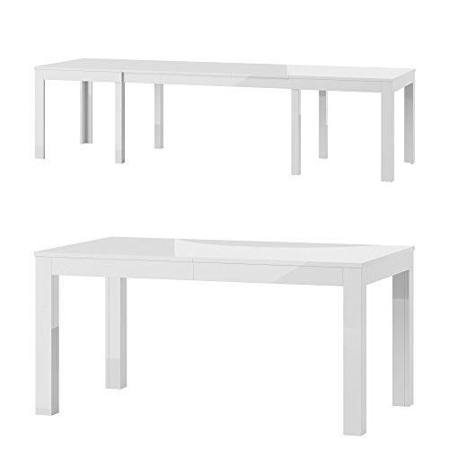 Furniture24 Tisch Küchentisch Esszimmertisch Esstisch WENUS Ausziehbar 160-300 cm (Weiß Hochglanz)