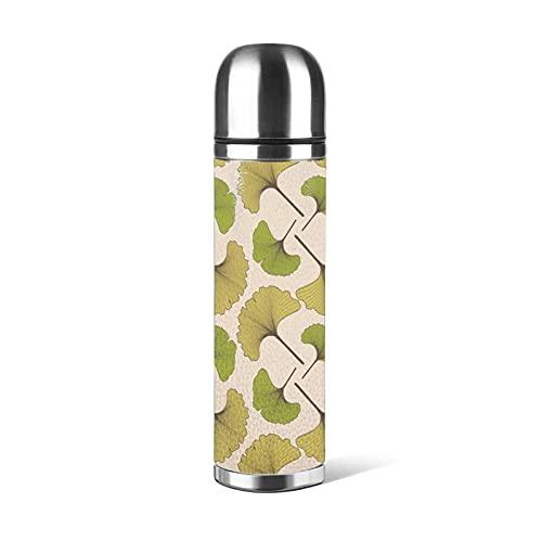 Botella de agua de 500 ml Ginkgo Biloba de acero inoxidable a prueba de fugas al vacío doble pared mantener 24 horas frías 12 horas caliente