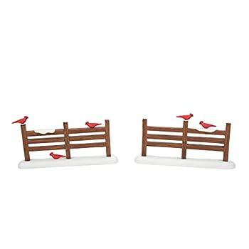 Department 56 Village Accessories Cardinal Christmas Fence Figurine Set 2.5 Inch Multicolor