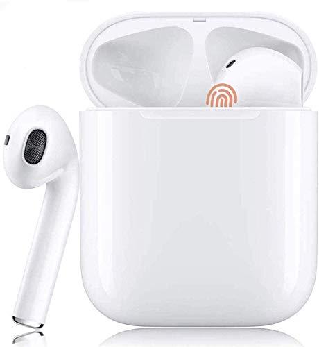 Auriculares Bluetooth Sonido Estéreo 3D Cancelación de Ruido Control Táctil Pop-Ups Auto Pairing IPX5 Impermeable Auriculares Inalámbricos para Deporte y Alegría Mini Blanco