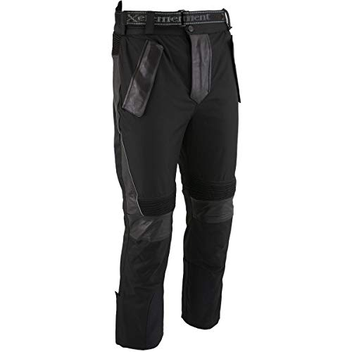 Xelement CF2131 Men's 'Road Racer' Black Tri-Tex and Leather Motorcycle Racing Pants with X-Armor Protection - 36