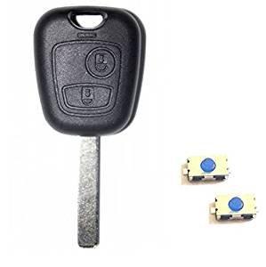Carcasa con 2 botones para llave de Peugeot 107, 207, 307 y 308 + 2 botones interruptores