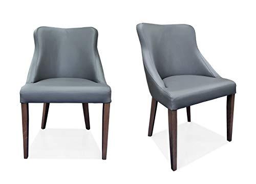 Silla Tolo de piel auténtica de color gris con patas de roble marrón, silla de comedor de piel auténtica silla de piel de vacuno silla de comedor comedor silla de piel MDR