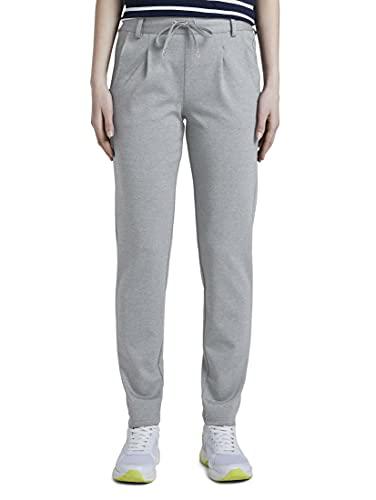 TOM TAILOR Denim Knitted Trackpants Pantalón de Vestir, Mid Grey Melange_34, S/32 para Mujer