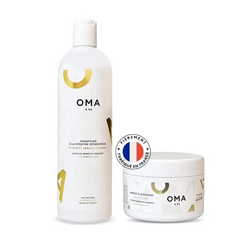 OMA & ME Dúo de champú y mascarilla keratina - para cabello dañado y quebradizo - Con queratina reparadora - Hecho en FRANCIA (Dúo de champú 500 ml y mascarilla 250 ml)