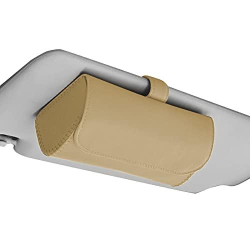 [Cicogna] 車用 メガネホルダー サングラス 眼鏡 収納 ケース レザー 汎用 車載 サンバイザー 取付簡単 シンプル (ベージュ)