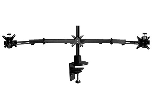 Ergotech Triple LCD Monitor Desk Stand with Desk Clamp and Telescoping Wings (100-C16-B03-TW)