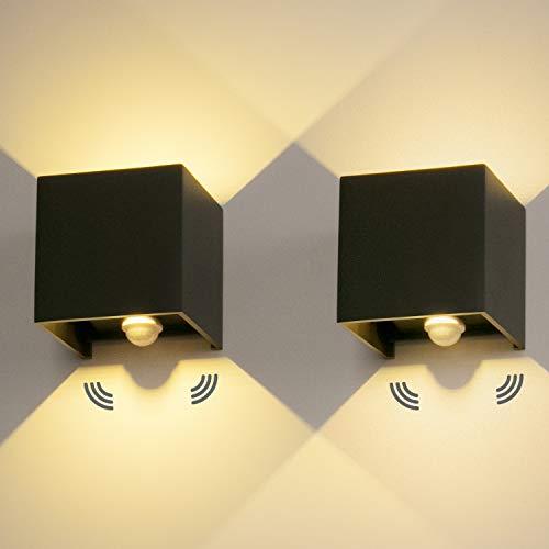 2 Stücke LED Wandleuchte Aussen 12W mit Bewegungsmelder Aussenlampe IP65 Led Wandlampe 3000K Außenwandleuchte Mit Einstellbar Abstrahlwinkel LED Wandbeleuchtung Innen/Außen
