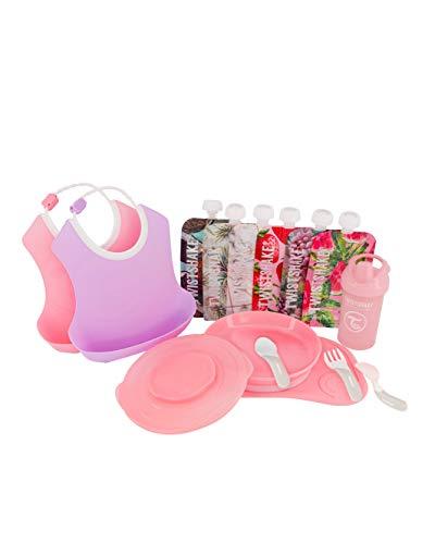 TWISTSHAKE Juego de Vajilla Bebés Click Mat Mini + Plato, 2 Pcs Baberos, Vaso con Boquilla, 6x Bolsas reutilizables   Sin BPA, Rosa/Púrpura