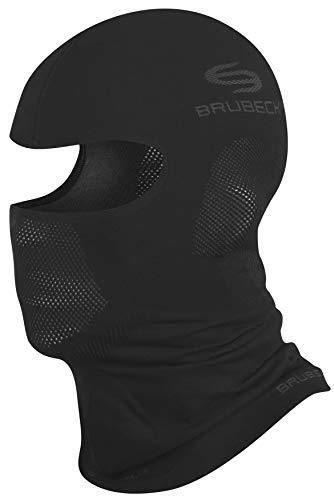 BRUBECK Sturmhaube Helm | Gesichtshaube | Snowboard Balaclava | Skimaske atmungsaktiv | Motorradmaske | Gesichtsmaske Skifahren | Skiing | Fahrrad Mundschutz | Schwarz | Gr. XS | KM00010