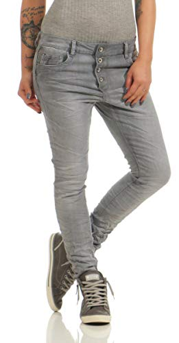Fashion4Young 11407 LEXXURY Damen Jeans Röhrenjeans Hose Boyfriend Baggy Haremscut Damenjeans (grau, XL-42)