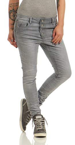 Fashion4Young 11407 LEXXURY Damen Jeans Röhrenjeans Hose Boyfriend Baggy Haremscut Damenjeans (grau, L-40)