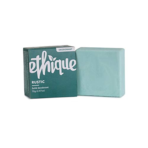 Ethique Eco-Friendly Deodorant Bar, Rustic - Vegan, Non-Toxic, Aluminum Free, Baking Soda Free, Scented With Lime, Cedarwood & Eucalyptus Sustainable Deodorant, 100% Compostable and Waste Free, 2.47oz