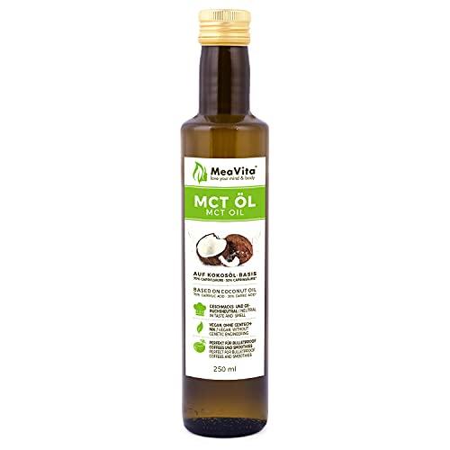 MeaVita MCT Öl auf Kokosölbasis (1x 250 ml) C8 & C10 Fettsäuren, Premium Qualität, 70{2d9eed5153154eeb5d0efd2533f72f34a6162ae60a1d7ba3726e9a8ece673847} Caprylsäure und 30{2d9eed5153154eeb5d0efd2533f72f34a6162ae60a1d7ba3726e9a8ece673847} Caprinsäure