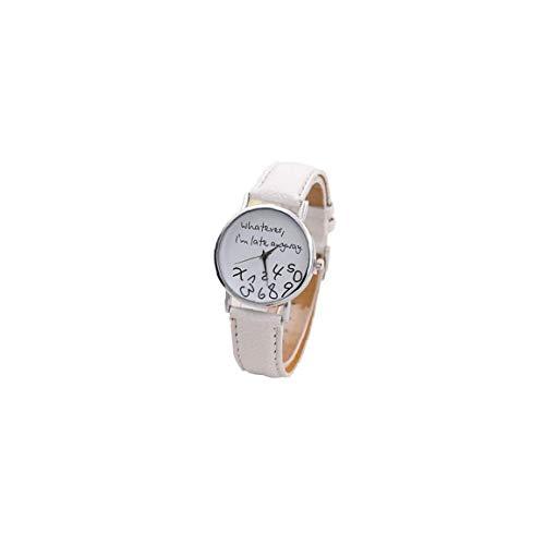 Damen & Herren Mode Lustige Uhr Analog Quarz-Uhr Mit Lederarmband Wie Auch Immer, I\'\'M Spätes Wie Dem Auch Sei Armbanduhr (Weiße Fläche Weiße Band)