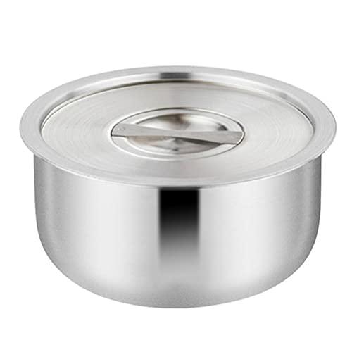 HEMOTON Stekgryta i rostfritt stål med lock soppgryta pasta matlagningsgryta simmande gryta soppgryta perfekt för ris gryta soppor och såser köksredskap silver