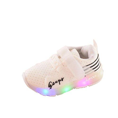 Zapatos Niña,JiaMeng Zapatilla de Deporte para Correr Zapatos de bebé para niñas Zapatos Luminosos LED para niños(Blanco,21)