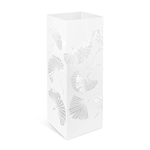 Navaris Paragüero Cuadrado de Metal - Soporte de Paraguas Blanco con Bandeja de Goteo - Accesorio para el hogar con Moderno diseño Calado de Flores
