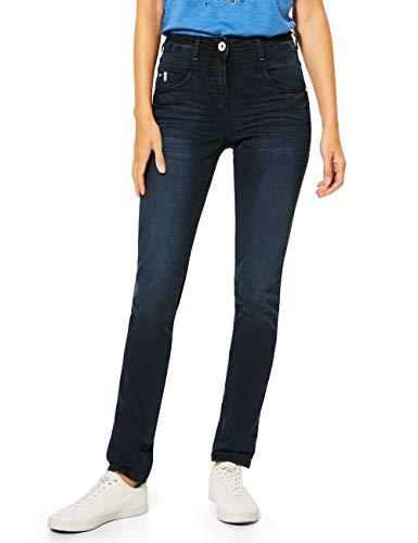 Cecil Damen 373436 Style Toronto, schwarz-blau Jeans, Dark Blue Used wash, W36/L34