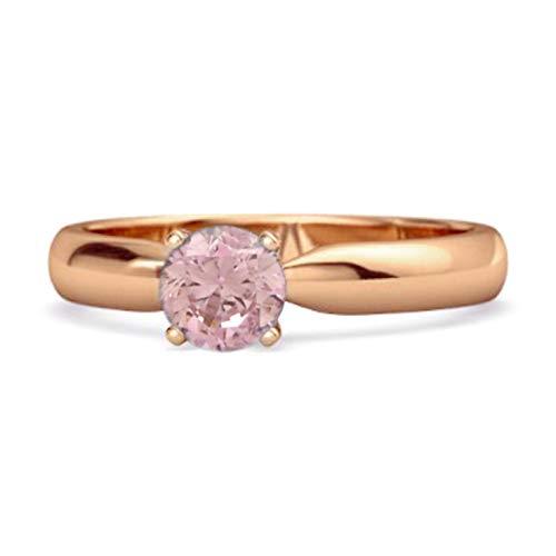 Shine Jewel Multi Elija su Anillo de Compromiso con Solitario de Piedras Preciosas de 0,25 Quilates de Corte Redondo de Plata de Ley 925 Chapado en Oro Rosa (12, topacio Rosa)