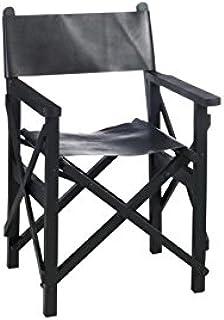 Fauteuil de réalisateur en véritable cuir noir