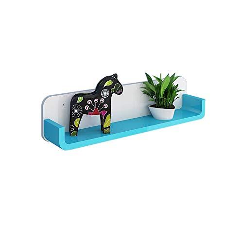 JCNFA Planken Diepe Wandplank Zwevende Wandframe Grote Zwevende Plank U-vormige Display Rack Perfect Trophy Show Decoratie 23.62 * 3.93 * 5.51in White+blue