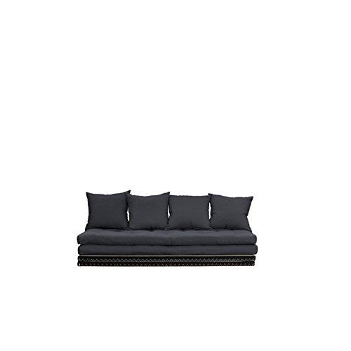 Karup Design Chico Schlafsofa 3 sitzer Futon Schlafcouch Im Natur Holz Sofa Mit Schlaffunktion und Dunkel Grau Matratze 140x200. 2-Sitzer Bettsofa entworfen in Dänemark.