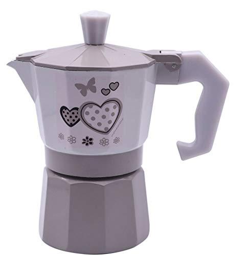 Vetrineinrete® Caffettiera Fango e Bianco Shabby Chic Moka 1 2 o 3 Tazze Macchina del caffè in Alluminio per Espresso Idea Regalo (1 Tazza) D90