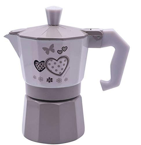 Vetrineinrete Caffettiera Fango e Bianco Shabby Chic Moka 1 2 o 3 Tazze Macchina del caffè in Alluminio per Espresso Idea Regalo (1 Tazza) D90