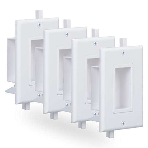 Cable Pass Through Wall Plate with Fly Mounting Wings Side Opening Decora Style 1 Gang Low Voltage Cable Wall Plate 4 Pack