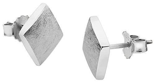 Nenalina Silber Damen-Ohrringe Ohrstecker Karo matt gebürstet für Frauen und Mädchen, 925 Sterling Silber, Ohrstecker für Damen, Ohrstecker eckig silber, 324405-300