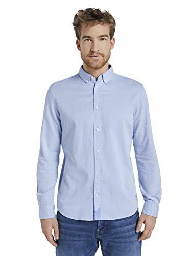 TOM TAILOR Herren Blusen, Shirts & Hemden Hemd in Twill-Optik Light Blue Herringbone Struct,XXXL