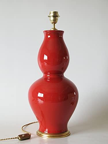 POLONIO Lámpara de Ceramica Sobremesa Grande Salon Color Rojo 46 cm E27,...