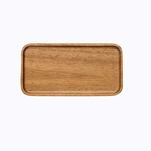 Growment Akazien Servier Tablett, Rechteckiger Massiv Holz Teller mit Flachem Boden, Obst Teller, Untertasse, Tee Tablett, Dessert Teller Klein