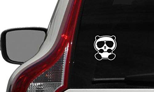 Cute Panda Wearing Sunglass Car Vinyl Sticker Decal Bumper Sticker for Auto Cars Trucks Windshield Custom Walls Windows Ipad MacBook Laptop and More (White)