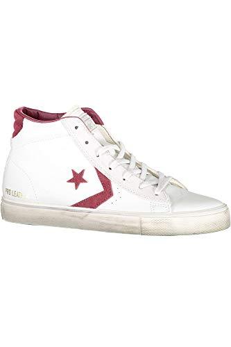 CONVERSE Pro Leather Vulc Distressed Mi sneakers alte lacci PELLE WHITE DUST BIANCO 158931C inverno 2018